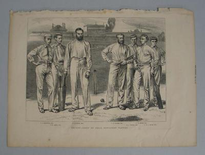 Page from 'The Graphic' featuring a cricket engraving, 12 August 1871, p. 153.
