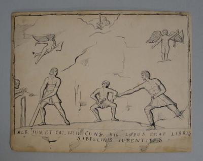 Ink drawing of the 'origins of cricket'