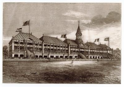 """Reproduction newspaper clipping, """"THE NEW GRAND STAND, MELBOURNE CRICKET GROUND.""""  January 20, 1877.; Documents and books; M16707"""