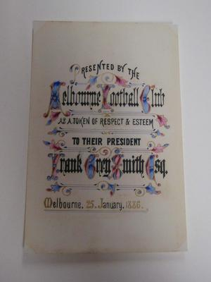 Reproduction bookplate presented to Frank Grey Smith, January 25, 1886.; Documents and books; M16708
