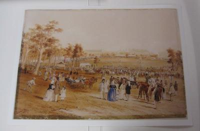 Reproduction watercolour painting by S.T. Gill, depicting a cricket match in play within a parkland setting, 1859.
