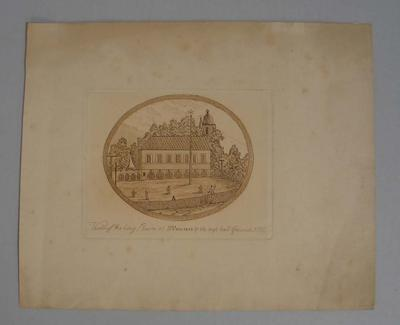Etching, 'View of the long Room at St Pancrass & the trap ball Ground, 1775'