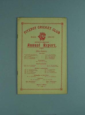 Annual report, Fitzroy Cricket Club - season 1934/35