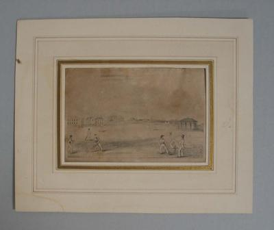 Etching of a cricket match at Lord's, 1817.