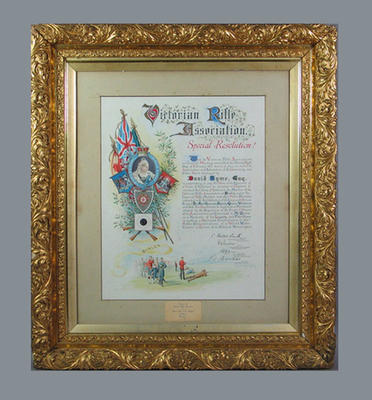 Illuminated address presented to David Syme by Victorian Rifle Association, 1897; Documents and books; Framed; 1989.2156.1