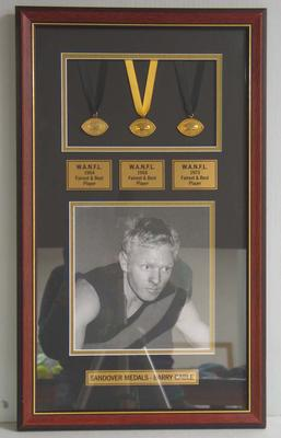Three framed Sandover Medals awarded to Barry Cable, 1964, 1968 and 1973