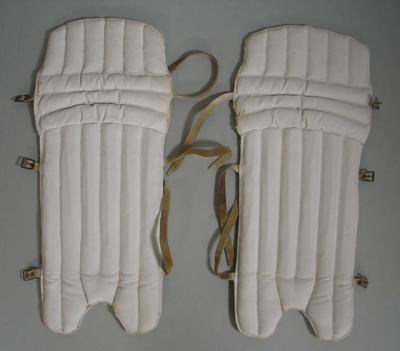 Cricket pads worn by Patricia Thomson, c.1950s-1960s
