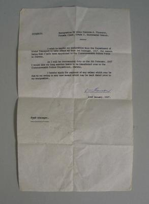 Resignation letter written by Patricia Thomson, 1967