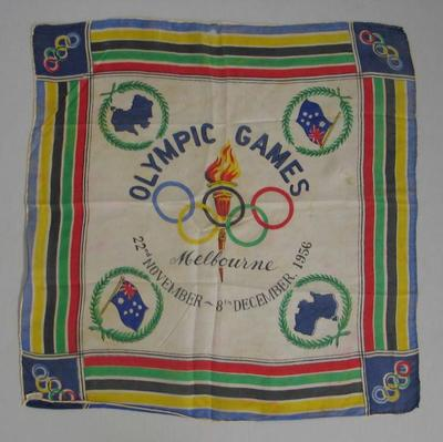 Silk scarf, 1956 Melbourne Olympic Games