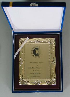 Commemorative plaque presented to the Melbourne Cricket Club, 2011
