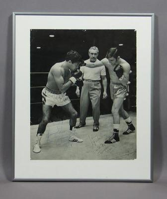 Photograph of Lionel Rose and Johnny Famechon during a boxing bout, c1969