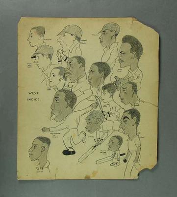 Cartoon, depicts West Indies cricket team c1940s
