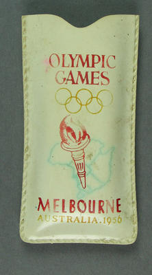 Rain hat in pocket, 1956 Olympic Games design