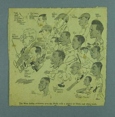 Cartoon, depicts West Indies cricket team c1940s