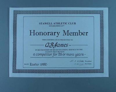 Stawell Athletic Club Honorary Member certificate, presented to Alan James 1982