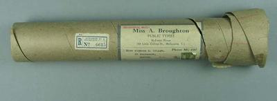 Postal tube, previously contained Winsome Cripps' certificate from 1952 Helsinki Olympics