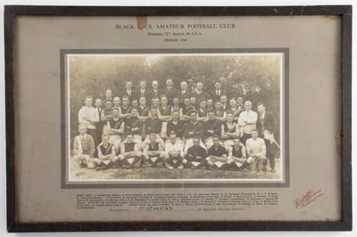 Photograph of Black Rock Amateur Football Club, MAFA C Section Premiers 1928; Photography; Framed; 1999.3566