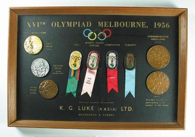 Framed set of  medals and badges, 1956 Melbourne Olympic Games