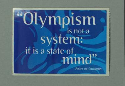 Sticker, Sydney 2000 Olympic Games Opening Ceremony audience kit