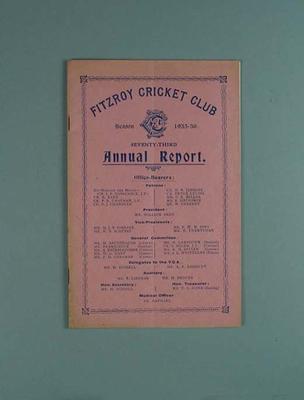 Annual report, Fitzroy Cricket Club - season 1935/36