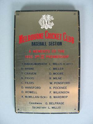 Plaque awarded to Colin Miller to commemorate the Melbourne Cricket Club Baseball Section's 3rd IX 1952 Premiership