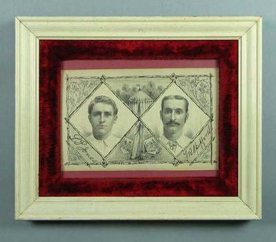 Lithograph, depicts Samuel Jones & Fred Spofforth c1882