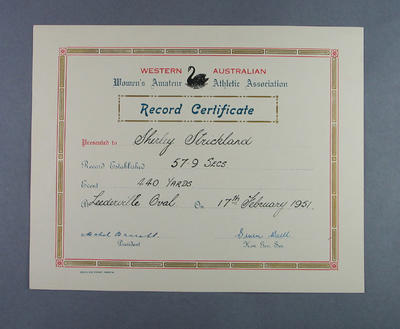 WAWAAA Record Certificate presented to Shirley Strickland, 17 Feb 1951