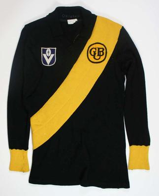 Long sleeved Richmond guernsey worn by Kevin Bartlett, c. 1977/1978.