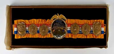 Ring Magazine World Featherweight Crown Belt award to Johnny Famechon, 1969