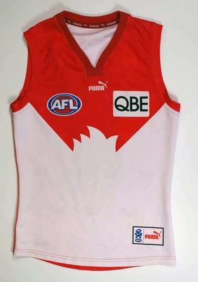 Sleeveless Sydney Swans Football Club playing guernsey worn by Brett Kirk, 2007 AFL season