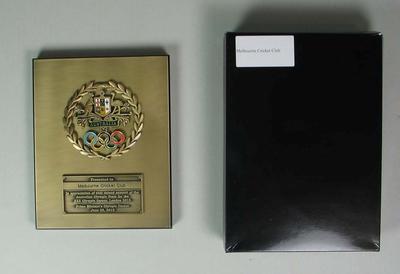 Commemorative plaque presented to the Melbourne Cricket Club, 28 June 2012