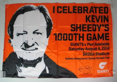 Banner commemorating Kevin Sheedy's 100th AFL game, 2012