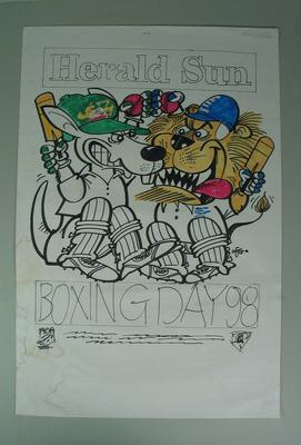 Original artwork for Herald Sun Boxing Day Test poster by William Ellis Green (WEG), 1998; Artwork; M16721.1