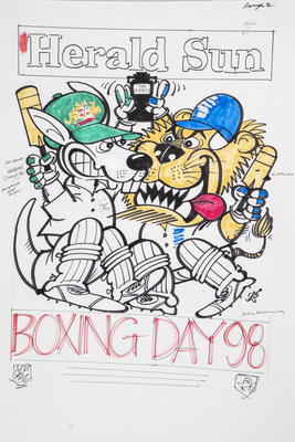 Original artwork for Herald Sun WEG poster issued to commemorate the Boxing Day Test match, 1998