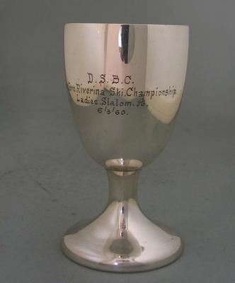 Goblet awarded to Rosemary Margan for winning the Ladies Slalom, Western Riverina Ski Championship, 1960
