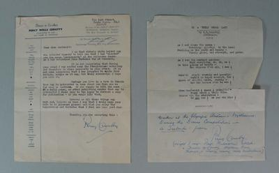 Letter and poem written by Percy Cerutty to Jackie MacDonald, 1956