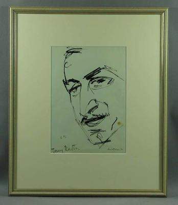 Drawing of Tony Rafty, by Louis Kahan - 1970; Artwork; Framed; 1993.2860.4