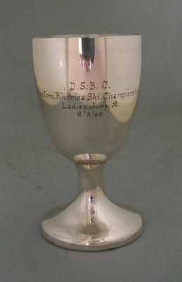 Goblet awarded to Rosemary Margan for winning the Ladies Jump, Western Riverina Ski Championship, 1960