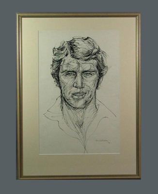 Drawing of Dennis Lillee, by Louis Kahan - 1972; Artwork; Framed; 1993.2860.3