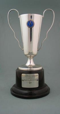 Trophy awarded to Rosemary Margan as winner of the Ladies Overall, Victorian Ski Championships, 1965