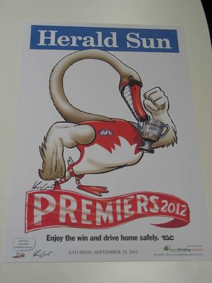'Herald Sun' AFL Sydney Football Club Premiers poster, caricature by Mark Knight, 2012; Documents and books; N2012.24