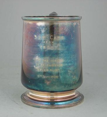 Silver tankard presented to Stan McCabe, 1934