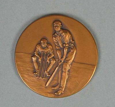 Bronze coloured medallion presented to SJ McCabe, 1938