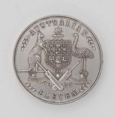 Silver medallion presented to S.J McCabe, 1930