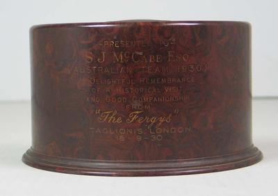 Cigarette box presented to Stan McCabe, 1930