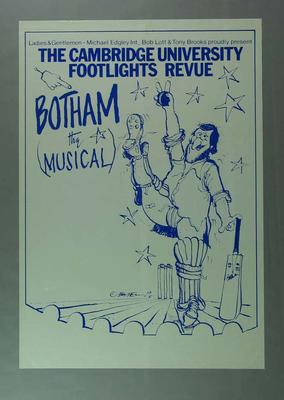 """Poster, advertises """"Botham The Musical"""" c1981; Documents and books; 1988.1945.3"""