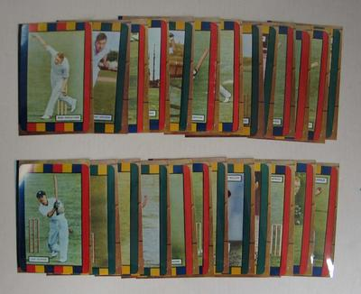 """Photographs of trade cards, 1953-54 Coles """"Australian & English Cricketers"""" series"""