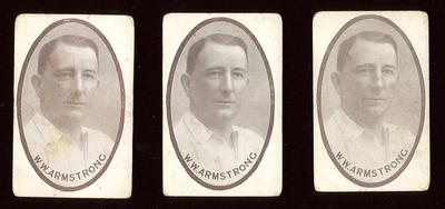 Trade card featuring Warwick Armstrong, c1930s
