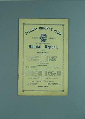Annual report, Fitzroy Cricket Club - season 1936/37