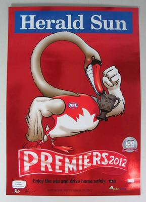 Limited edition 'Herald Sun' AFL Sydney Football Club Premiers poster, caricature by Mark Knight, 2012